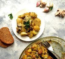 Zapiekanka z kurczaka, pieczarek i gotowanych ziemniaków